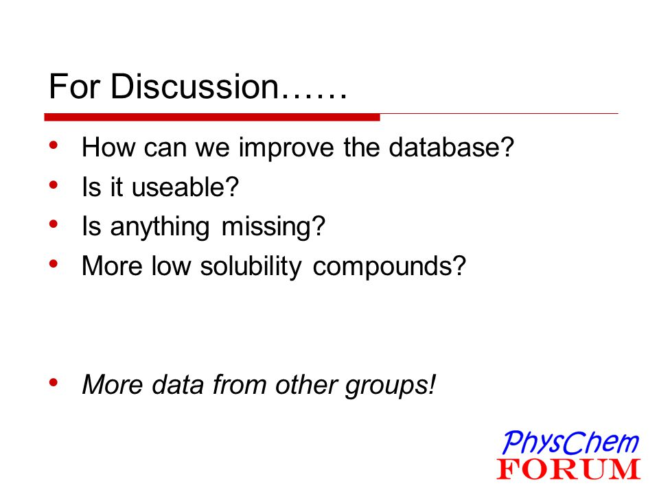 For Discussion…… How can we improve the database Is it useable