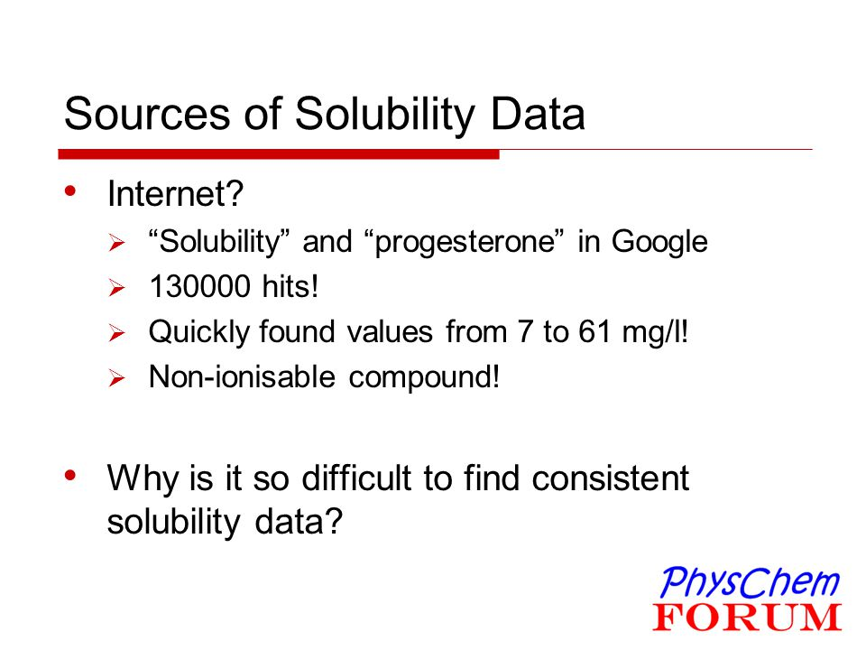 Sources of Solubility Data