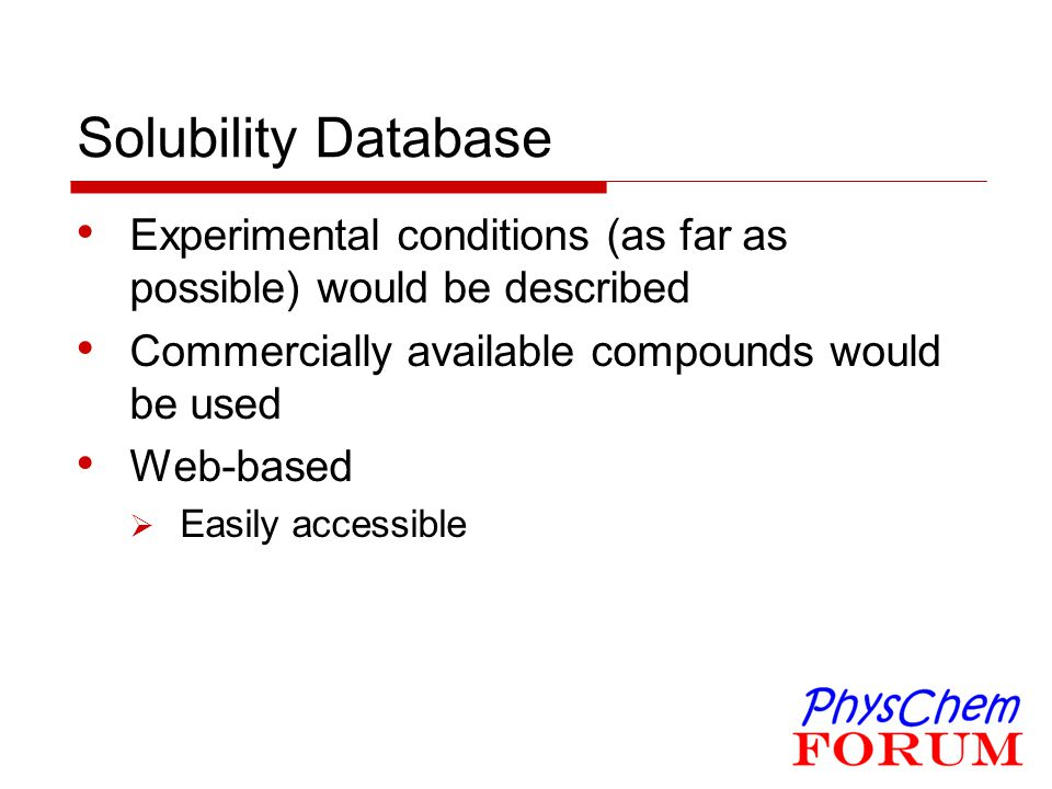 Solubility Database Experimental conditions (as far as possible) would be described. Commercially available compounds would be used.