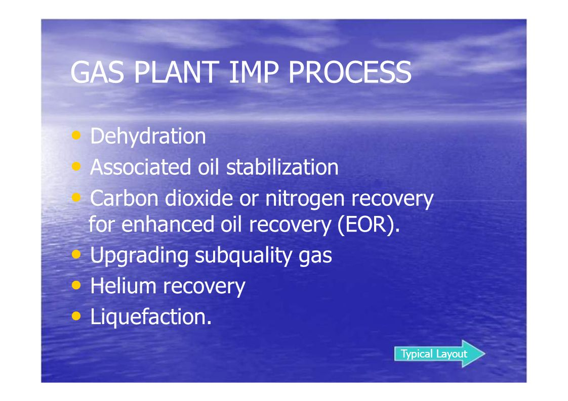 GAS PLANT IMP PROCESS • Dehydration • Associated oil stabilization