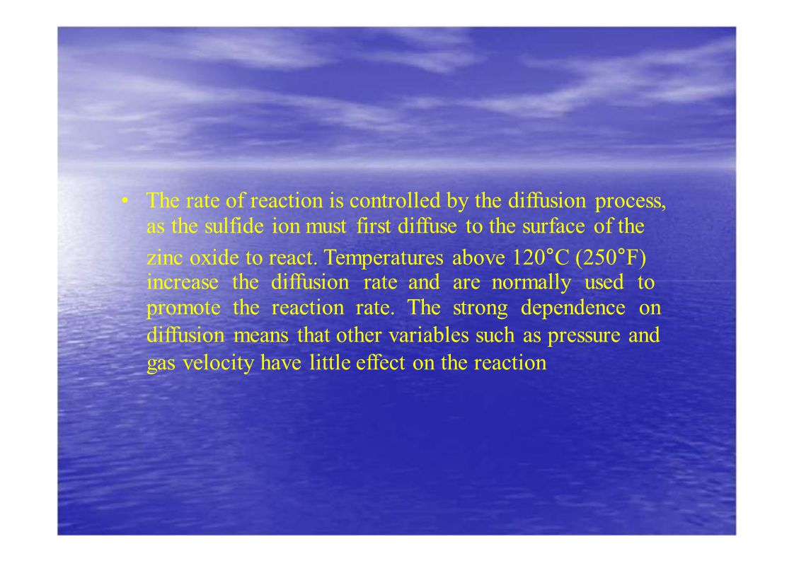 • The rate of reaction is controlled by the diffusion process,