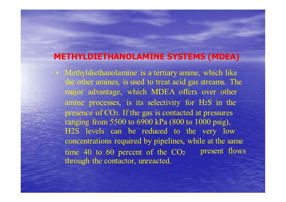 METHYLDIETHANOLAMINE SYSTEMS (MDEA)