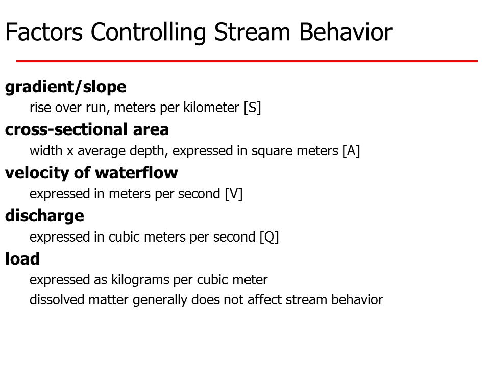 Factors Controlling Stream Behavior