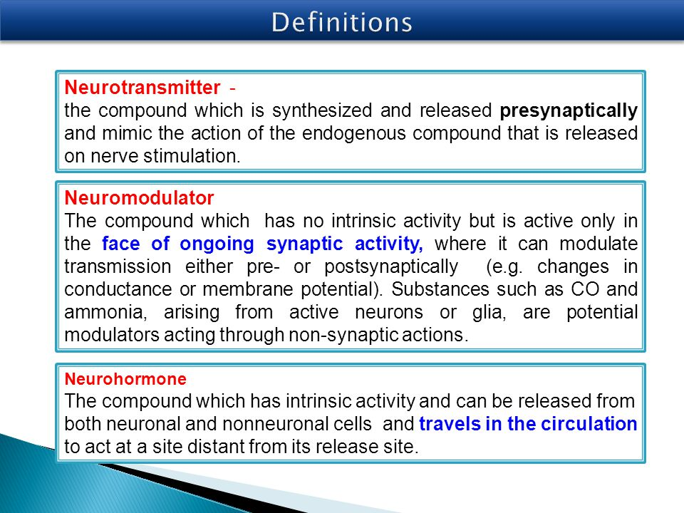 Definitions Neurotransmitter -