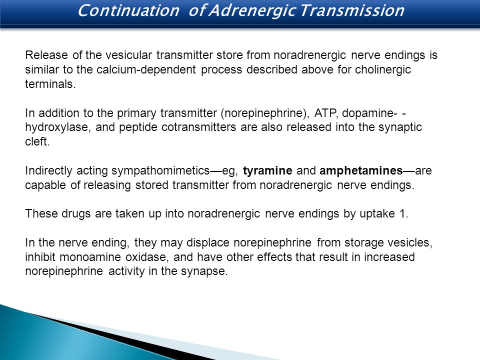 Continuation of Adrenergic Transmission