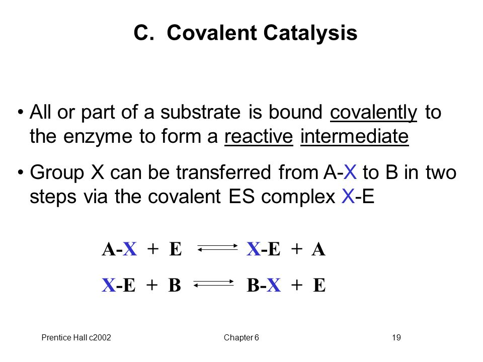 C. Covalent Catalysis All or part of a substrate is bound covalently to the enzyme to form a reactive intermediate.