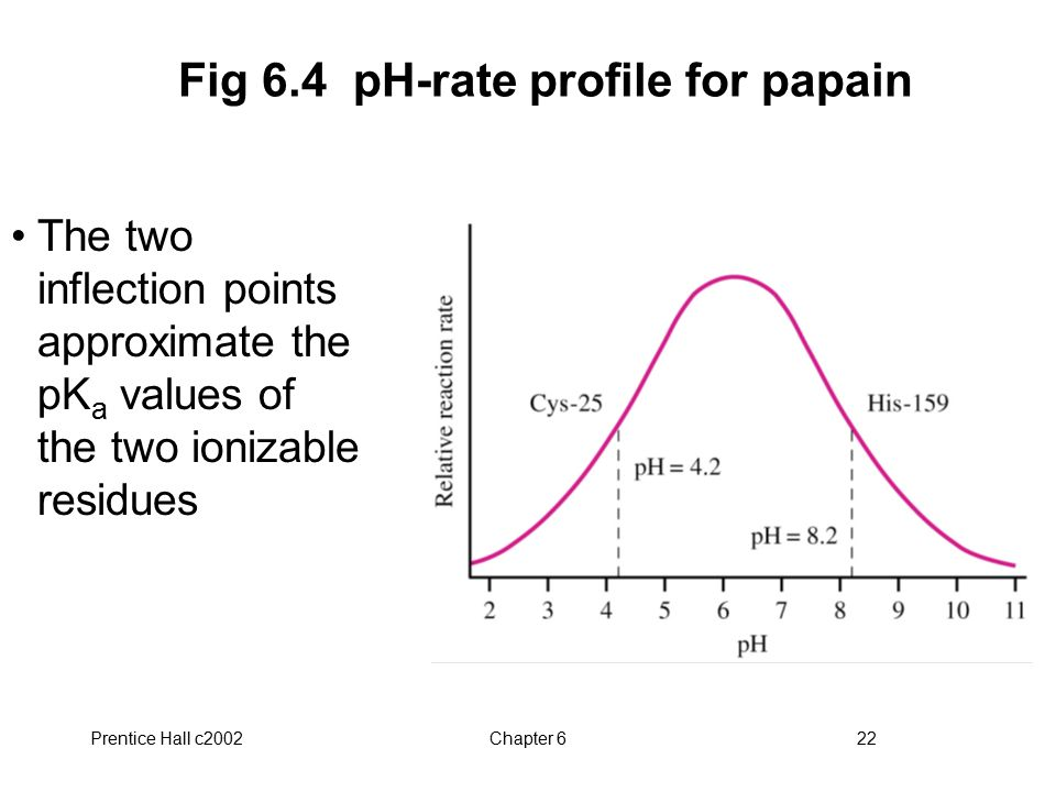Fig 6.4 pH-rate profile for papain