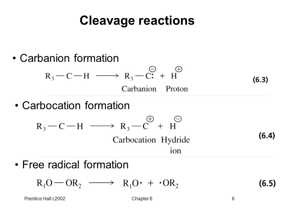 Cleavage reactions Carbanion formation Carbocation formation