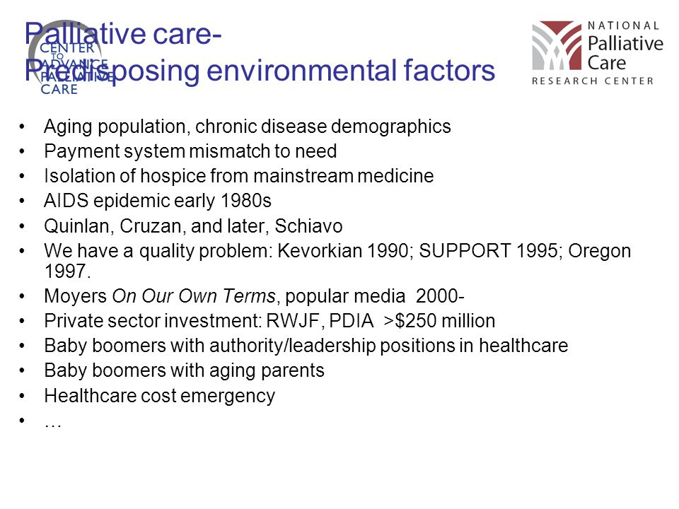 Palliative care- Predisposing environmental factors