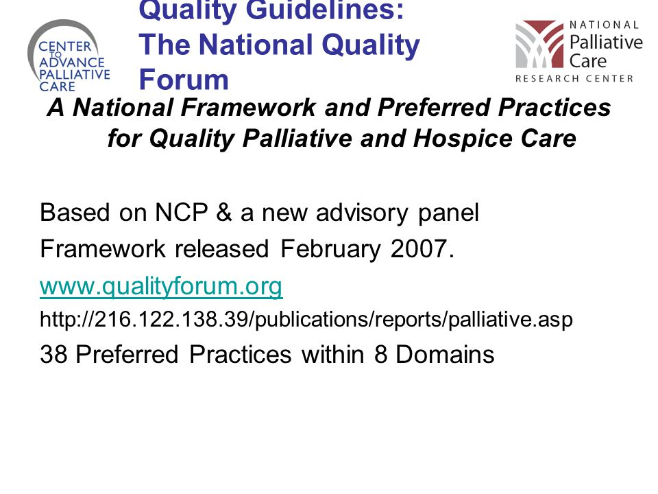 Quality Guidelines: The National Quality Forum