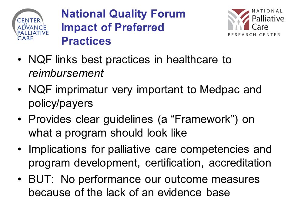 National Quality Forum Impact of Preferred Practices