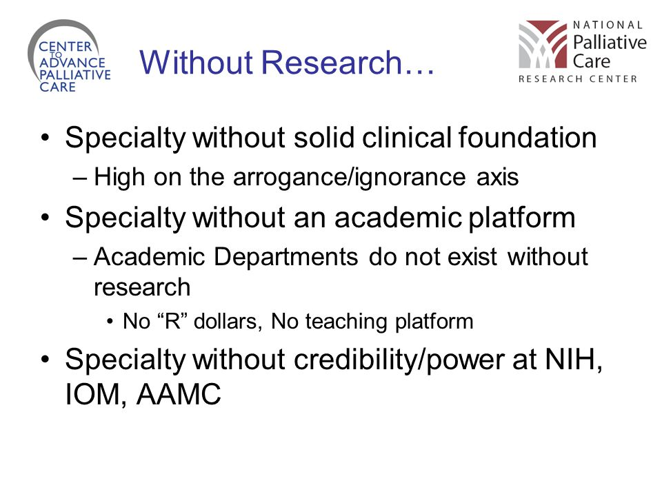 Without Research… Specialty without solid clinical foundation