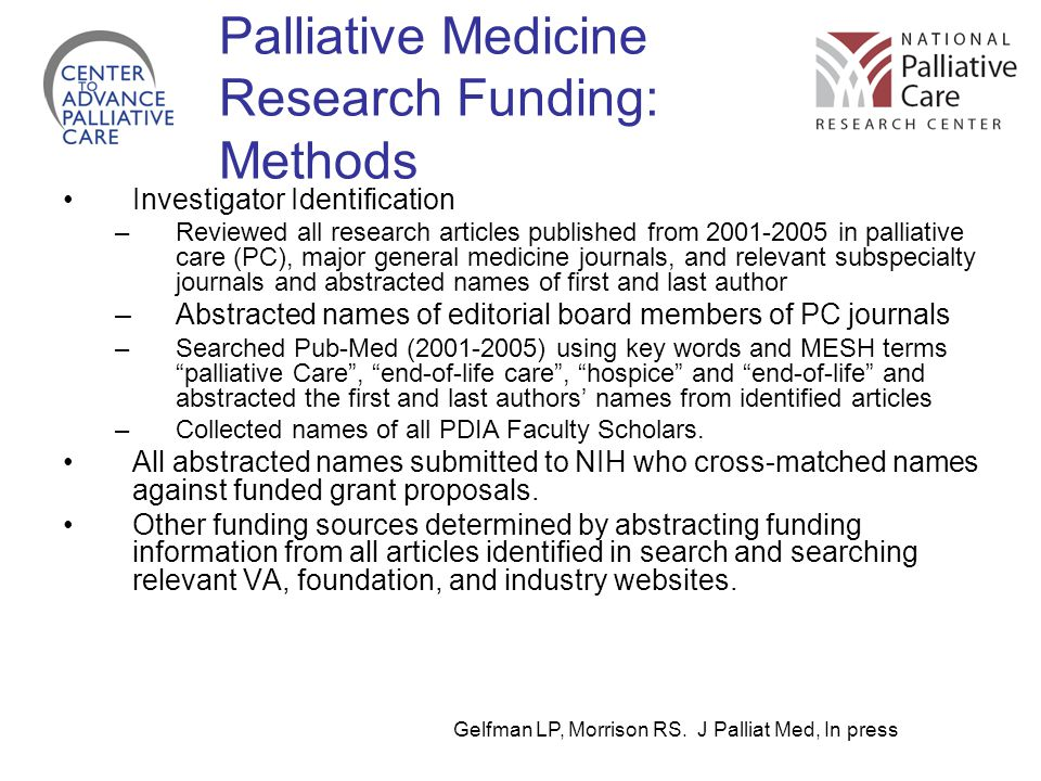 Palliative Medicine Research Funding: Methods