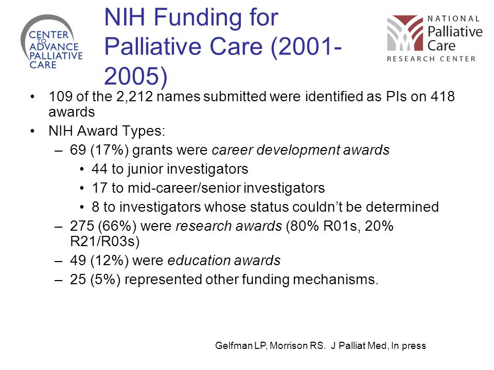 NIH Funding for Palliative Care (2001-2005)