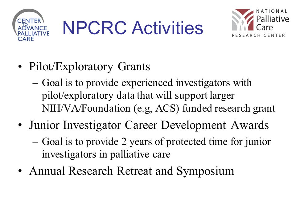 NPCRC Activities Pilot/Exploratory Grants