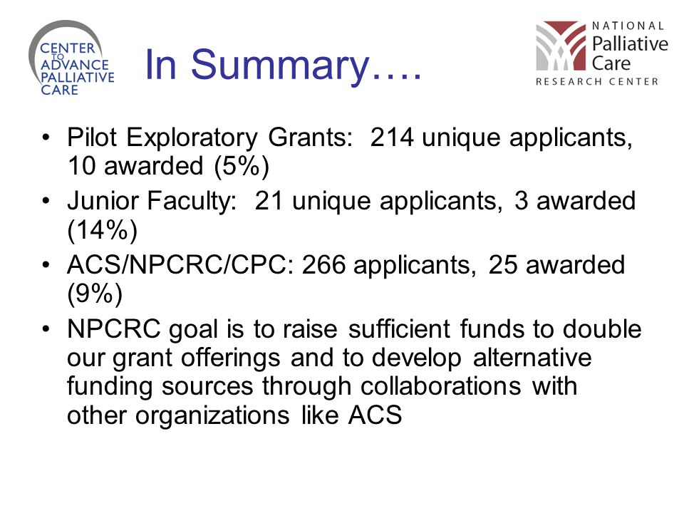 In Summary…. Pilot Exploratory Grants: 214 unique applicants, 10 awarded (5%) Junior Faculty: 21 unique applicants, 3 awarded (14%)