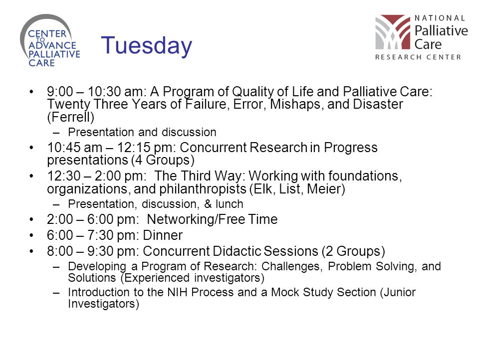 Tuesday 9:00 – 10:30 am: A Program of Quality of Life and Palliative Care: Twenty Three Years of Failure, Error, Mishaps, and Disaster (Ferrell)