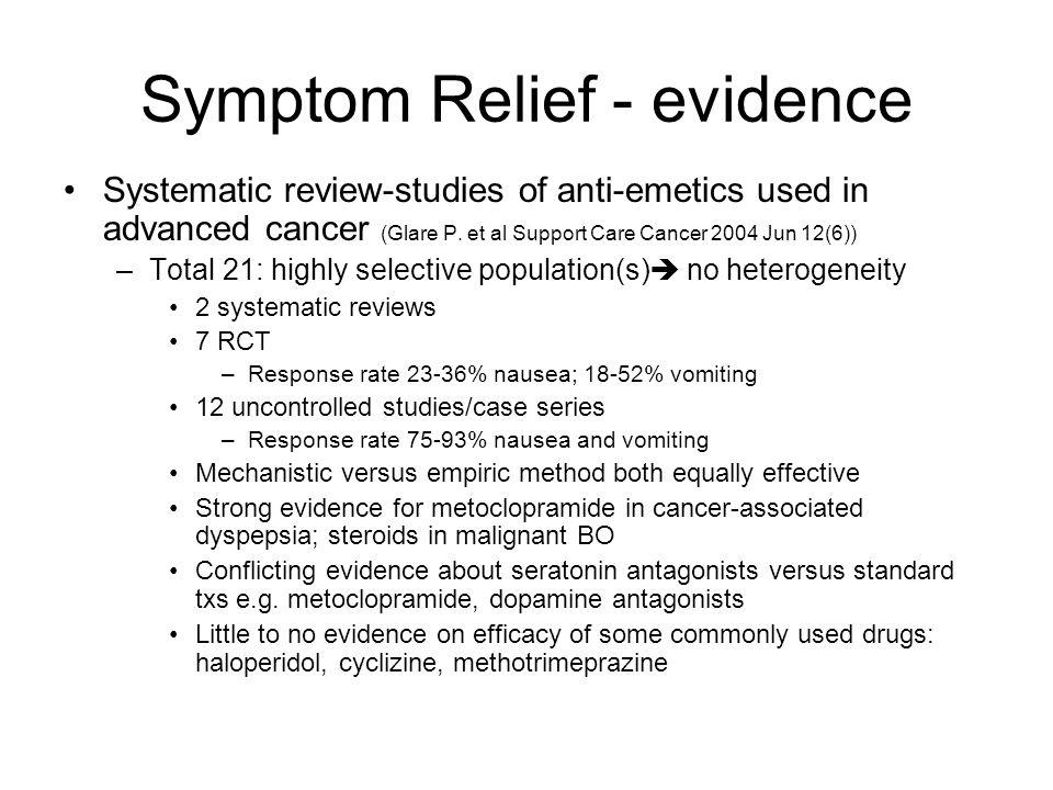 Symptom Relief - evidence
