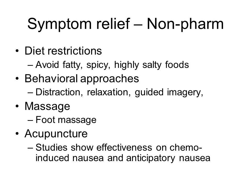 Symptom relief – Non-pharm