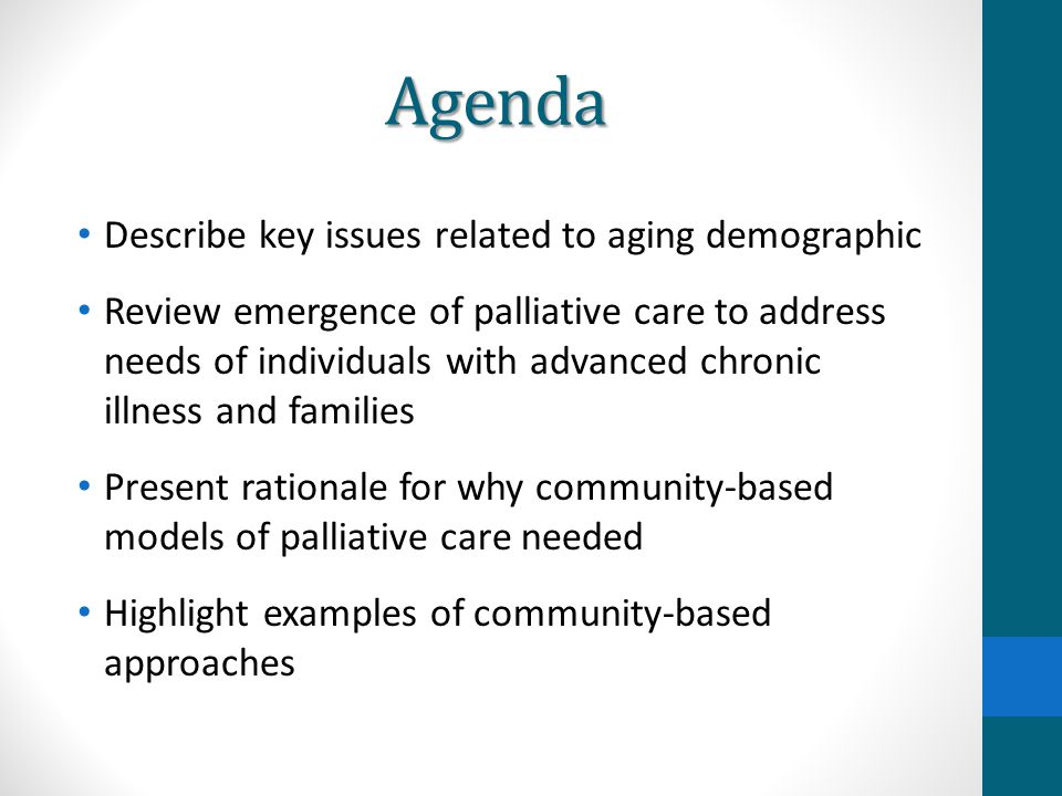 Agenda Describe key issues related to aging demographic