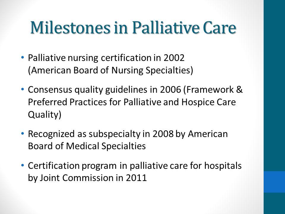 Milestones in Palliative Care