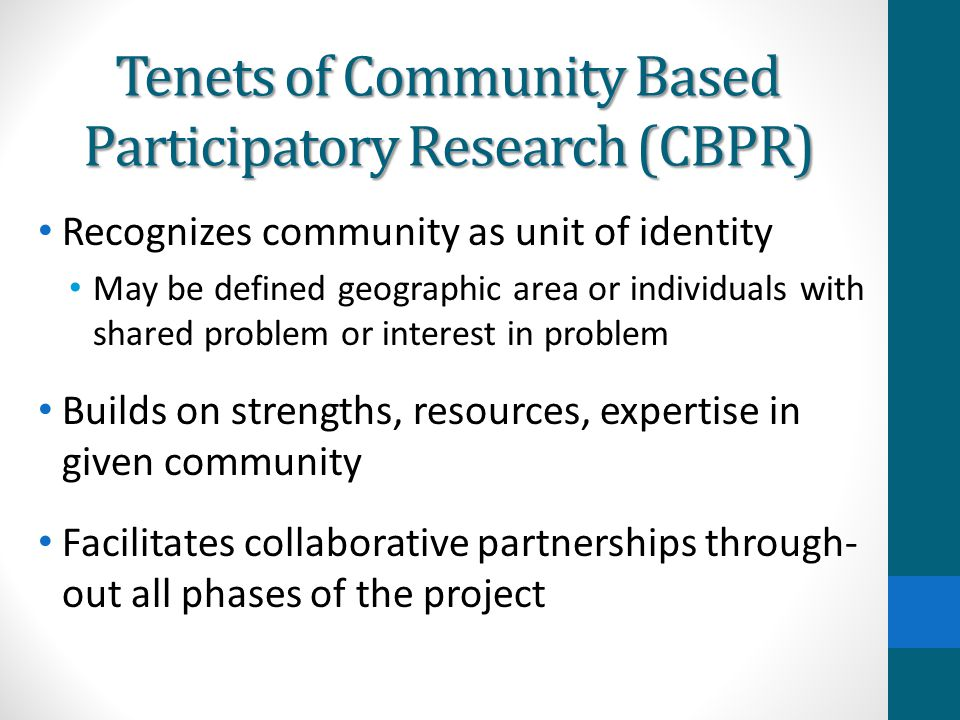Tenets of Community Based Participatory Research (CBPR)
