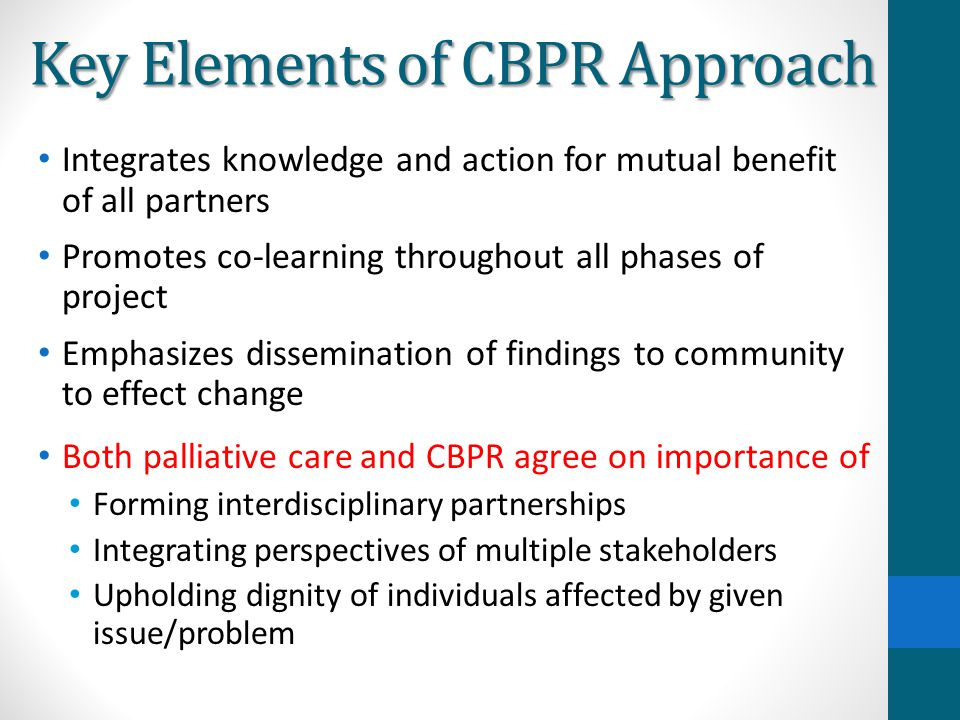 Key Elements of CBPR Approach