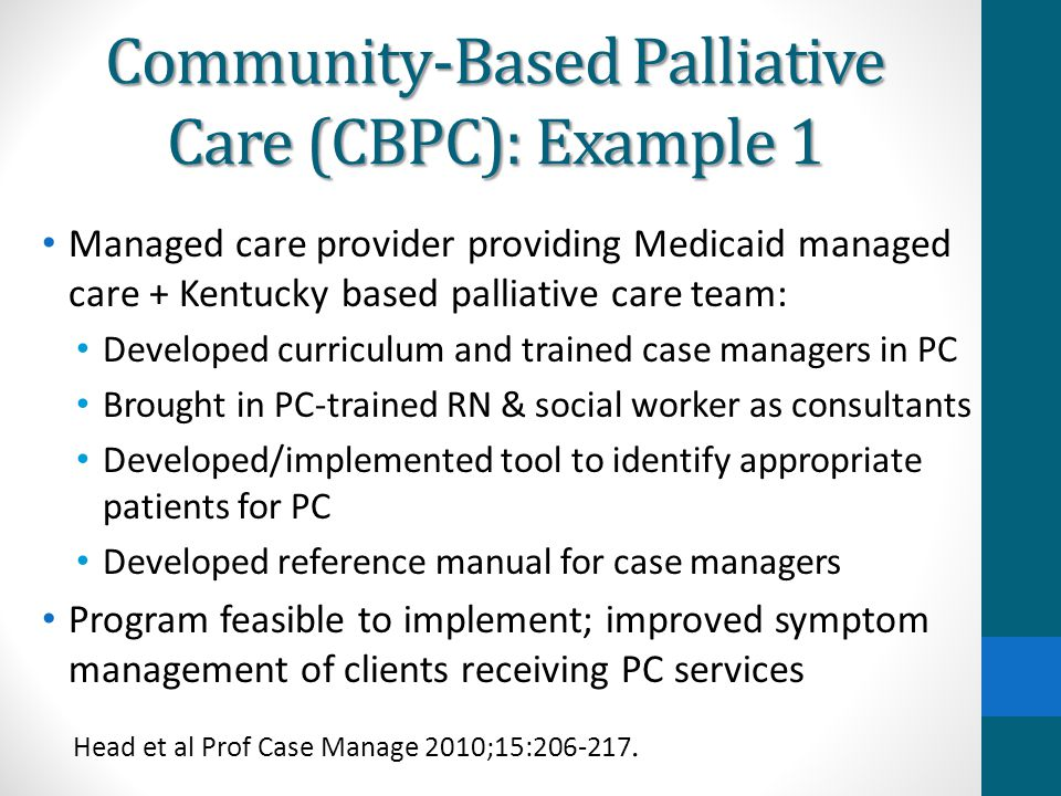 Community-Based Palliative Care (CBPC): Example 1