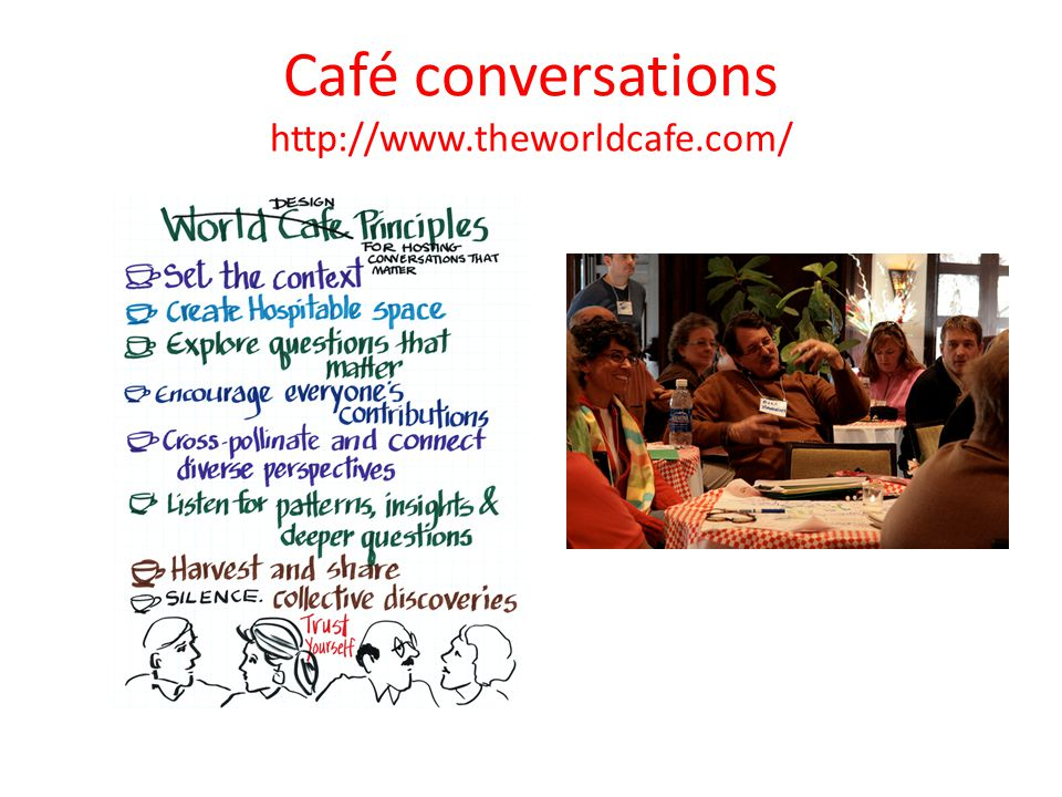 Café conversations http://www.theworldcafe.com/
