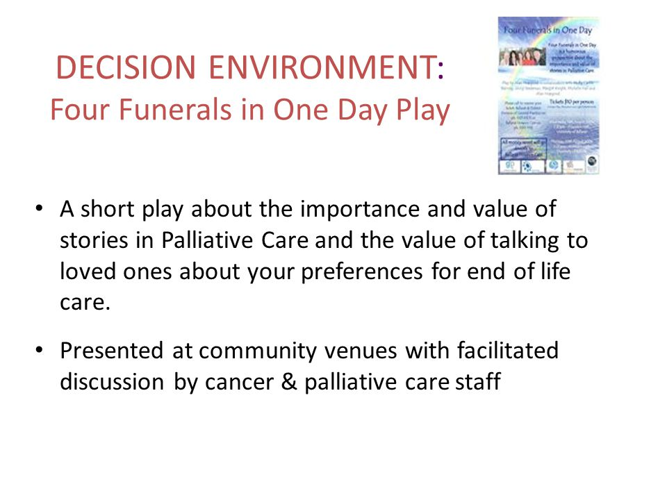 DECISION ENVIRONMENT: Four Funerals in One Day Play