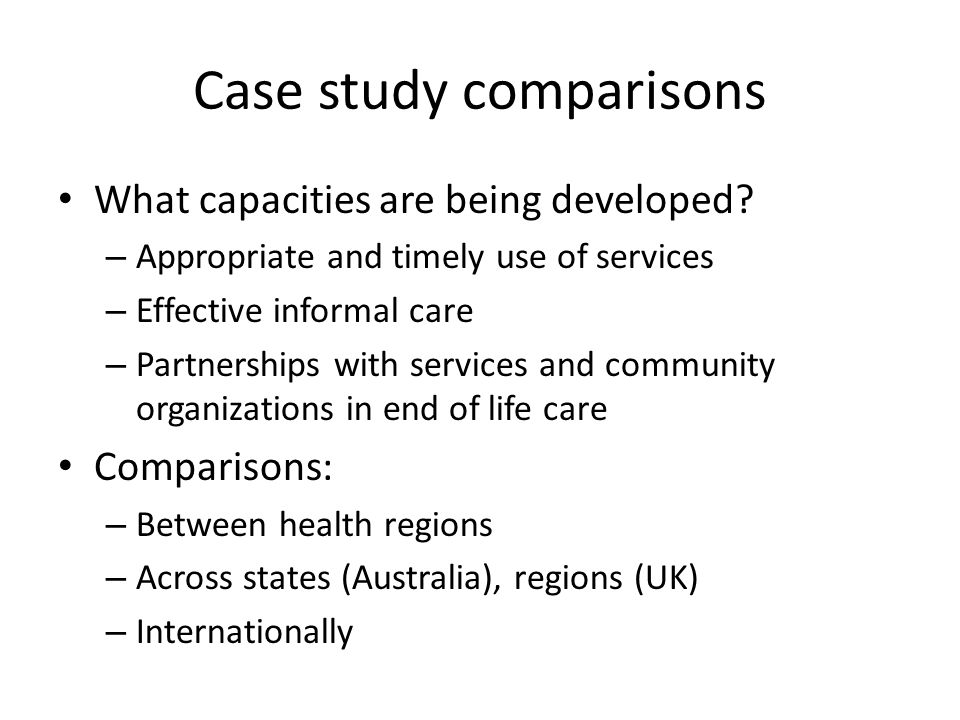 Case study comparisons