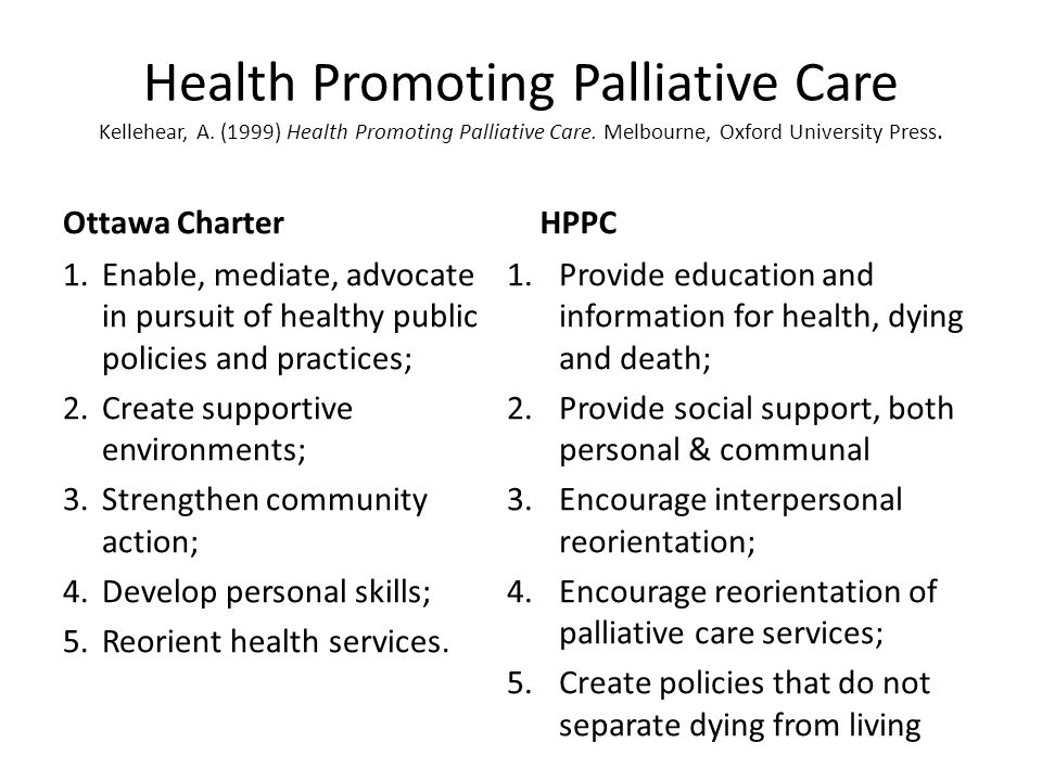 Health Promoting Palliative Care Kellehear, A
