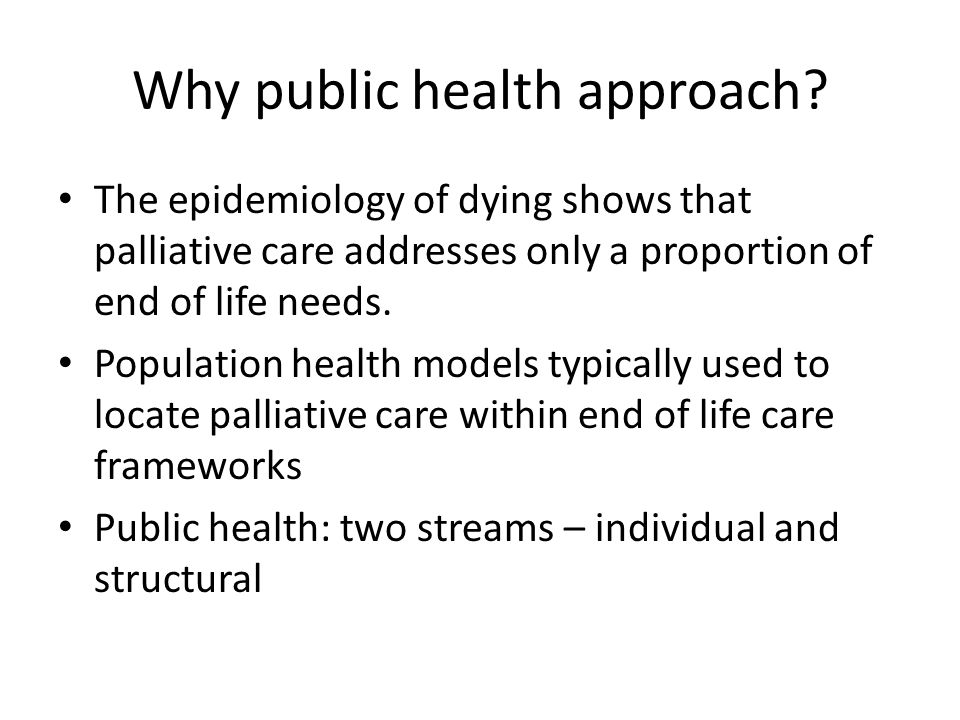 Why public health approach