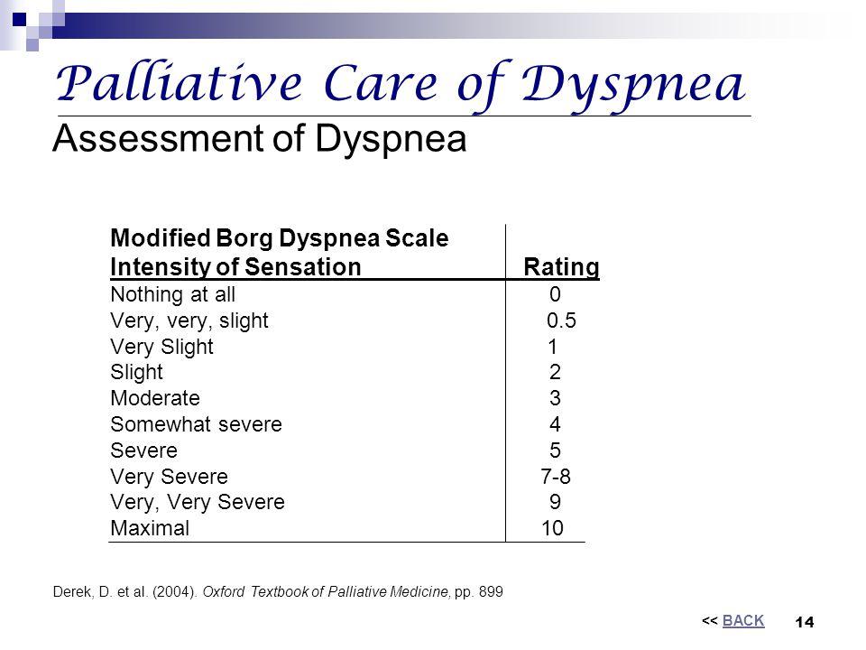Palliative Care of Dyspnea Assessment of Dyspnea