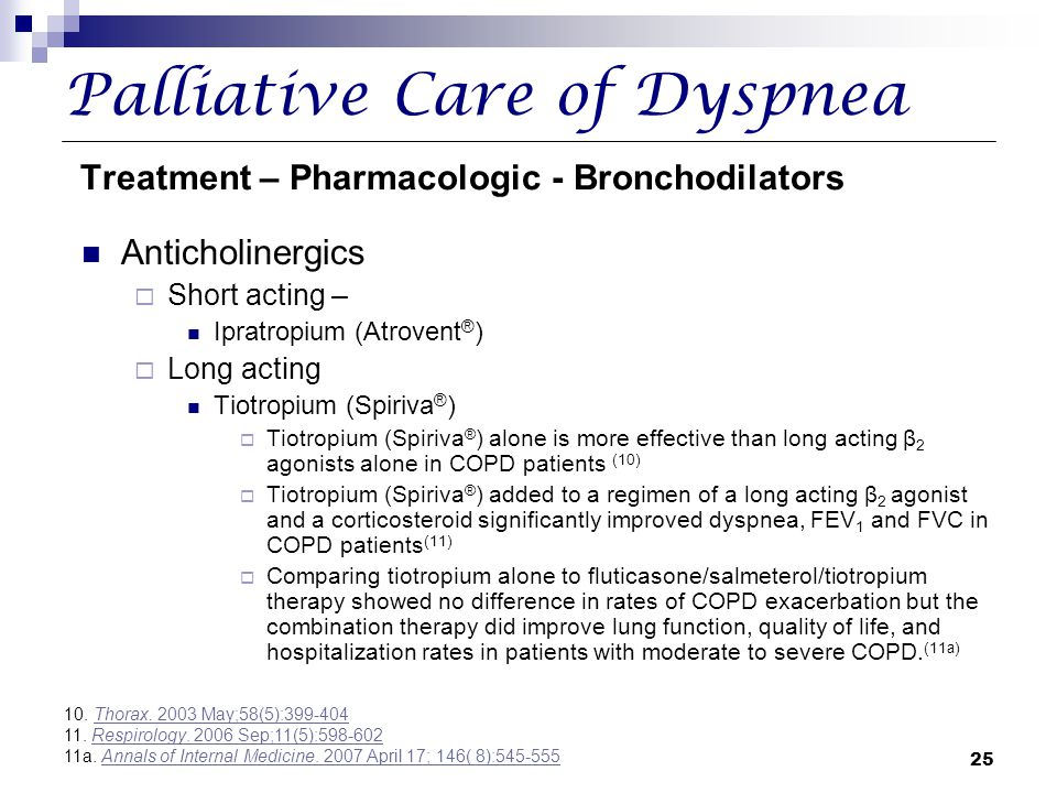 Palliative Care of Dyspnea Treatment – Pharmacologic - Bronchodilators