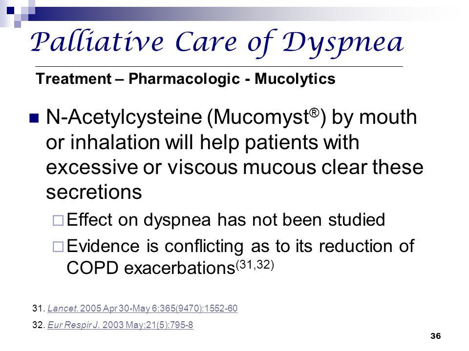 Palliative Care of Dyspnea Treatment – Pharmacologic - Mucolytics