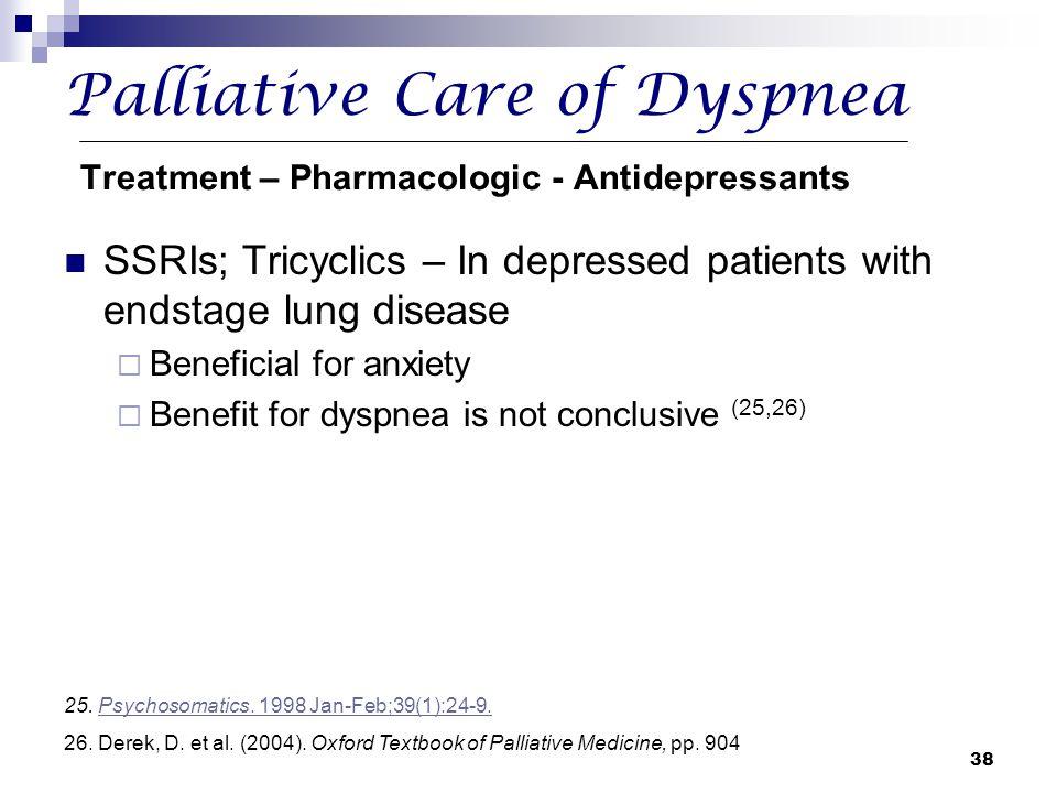 Palliative Care of Dyspnea Treatment – Pharmacologic - Antidepressants