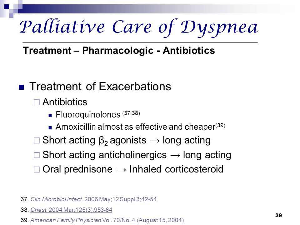 Palliative Care of Dyspnea Treatment – Pharmacologic - Antibiotics