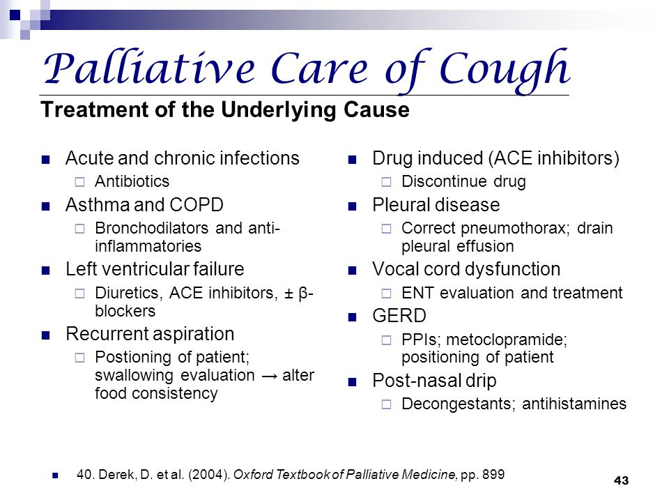 Palliative Care of Cough Treatment of the Underlying Cause