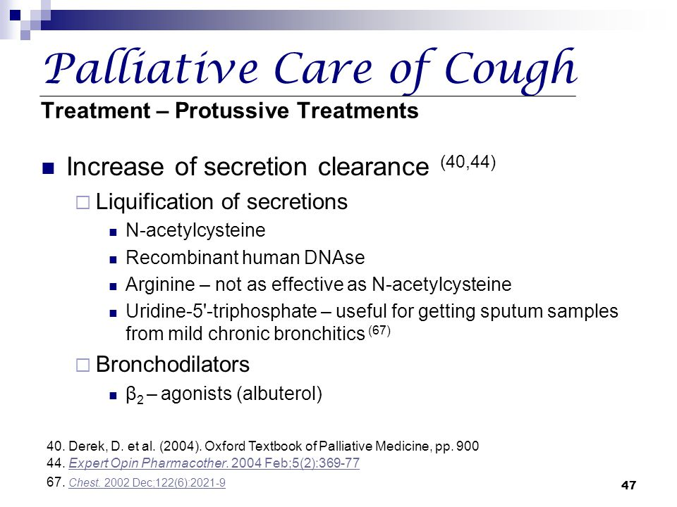 Palliative Care of Cough Treatment – Protussive Treatments