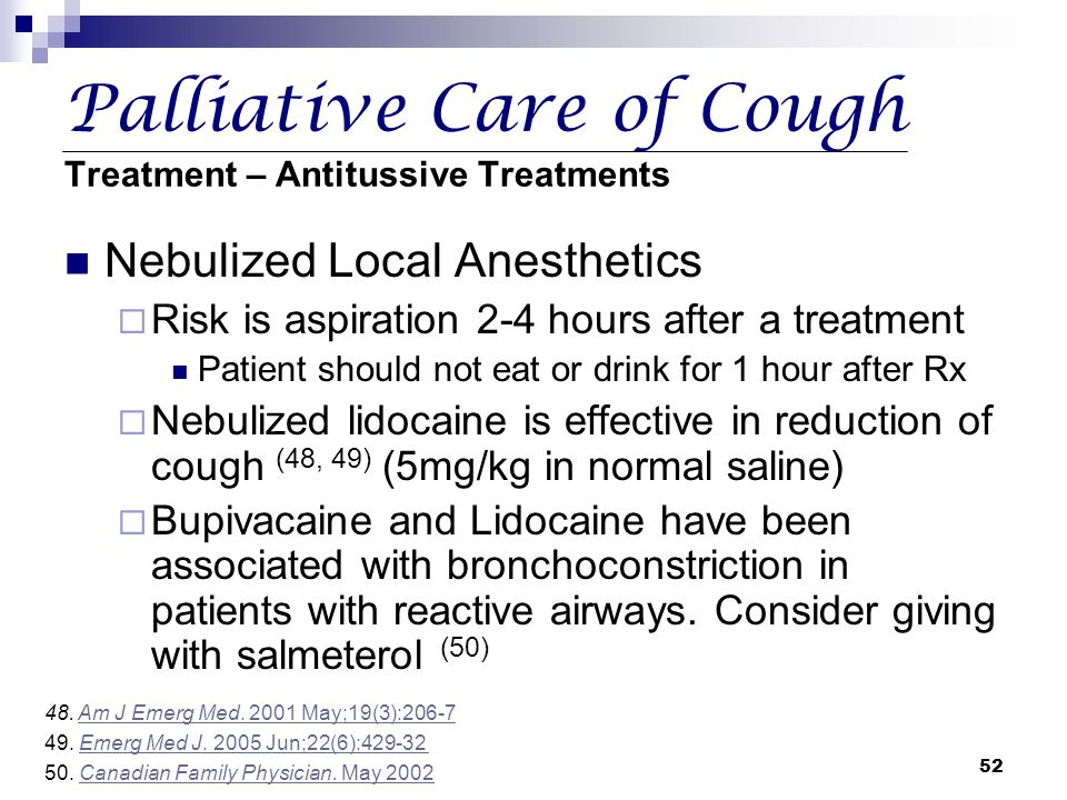 Palliative Care of Cough Treatment – Antitussive Treatments