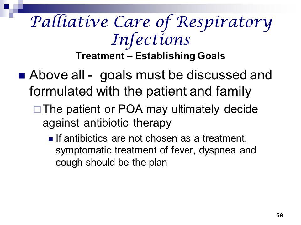Palliative Care of Respiratory Infections Treatment – Establishing Goals