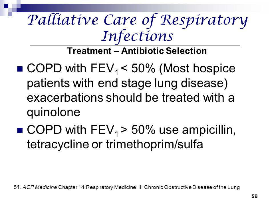 Palliative Care of Respiratory Infections Treatment – Antibiotic Selection