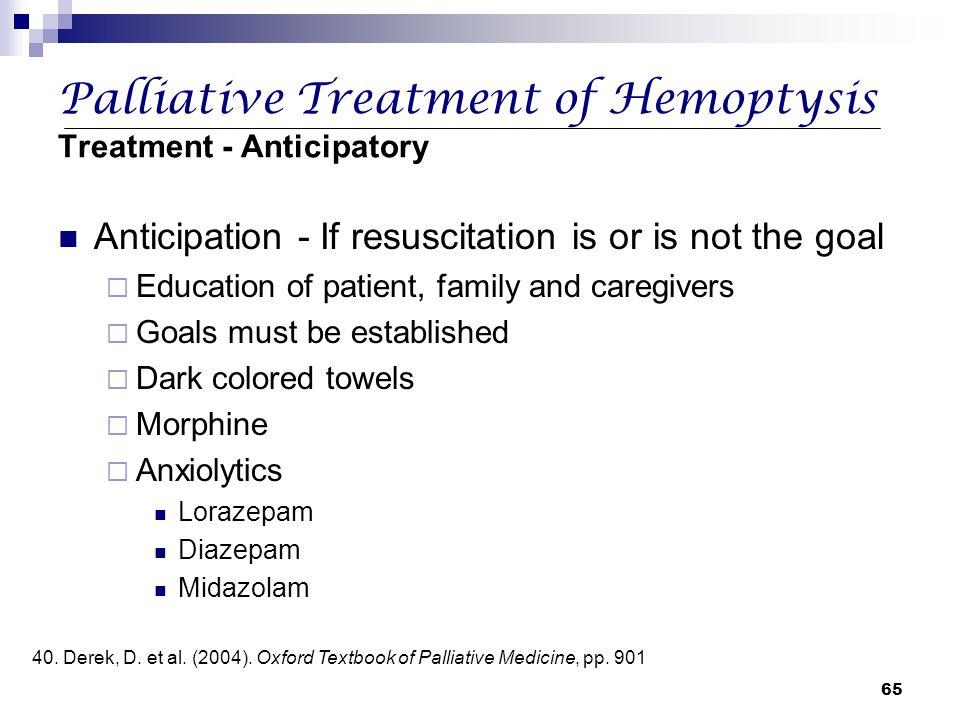 Palliative Treatment of Hemoptysis Treatment - Anticipatory