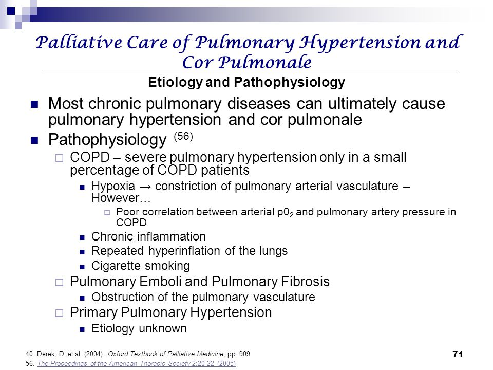 Palliative Care of Pulmonary Hypertension and Cor Pulmonale Etiology and Pathophysiology