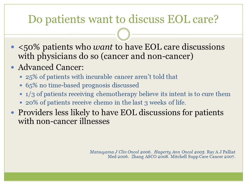 Do patients want to discuss EOL care