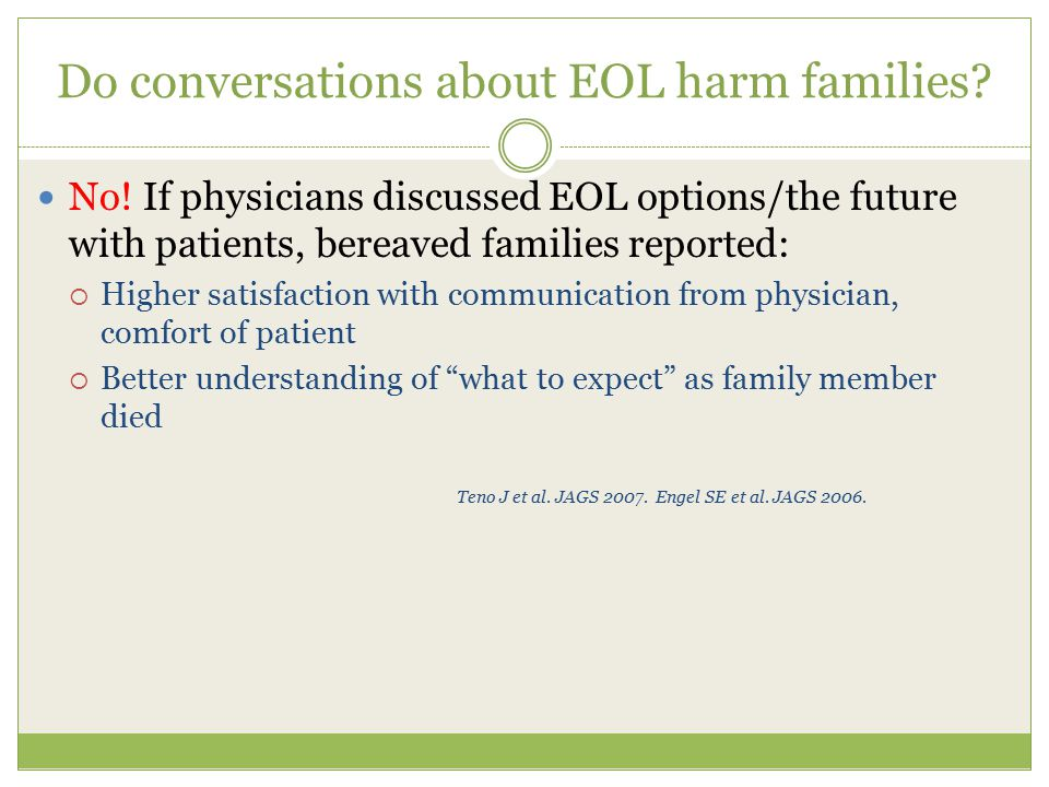 Do conversations about EOL harm families