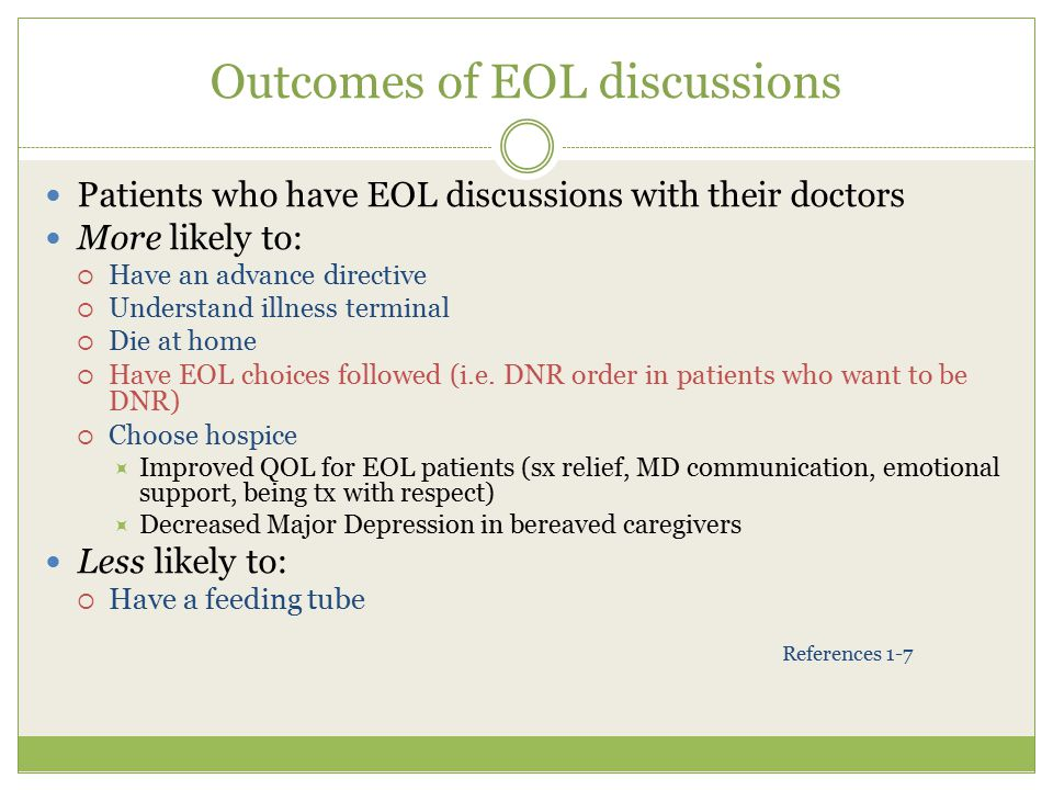 Outcomes of EOL discussions
