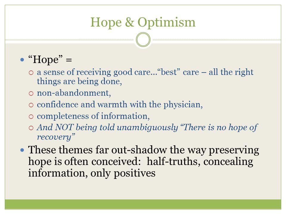 Hope & Optimism Hope =