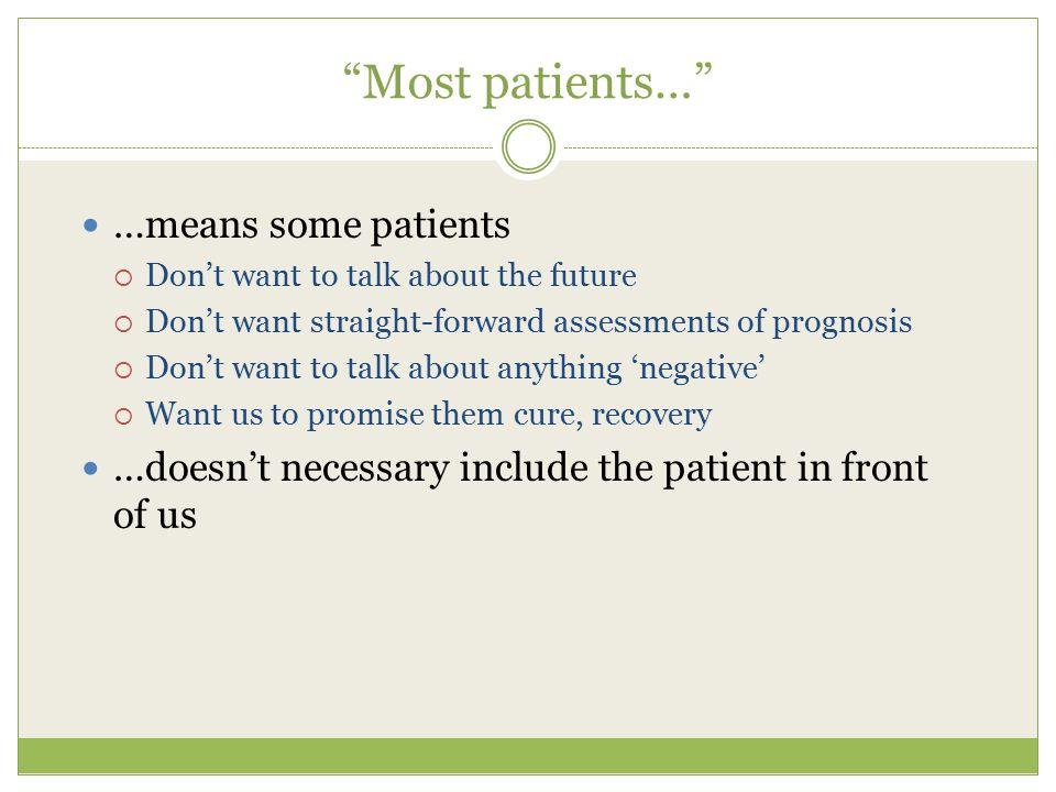 Most patients… …means some patients